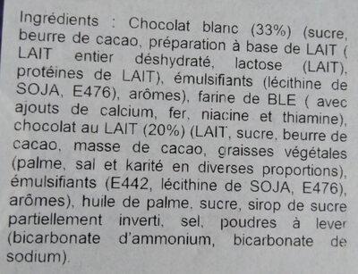Cadbury Snowy Fingers - Ingrédients