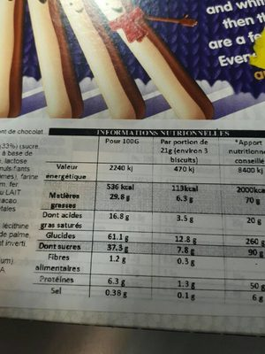 Cadbury Snowy Fingers - Informations nutritionnelles
