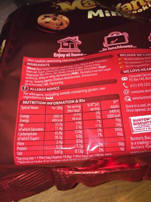 Cookies minis - Informations nutritionnelles - en