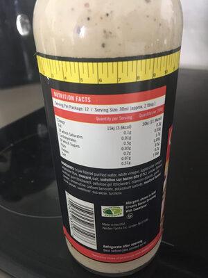 Walden farms, calorie free creamy bacon dressing - Nutrition facts - en