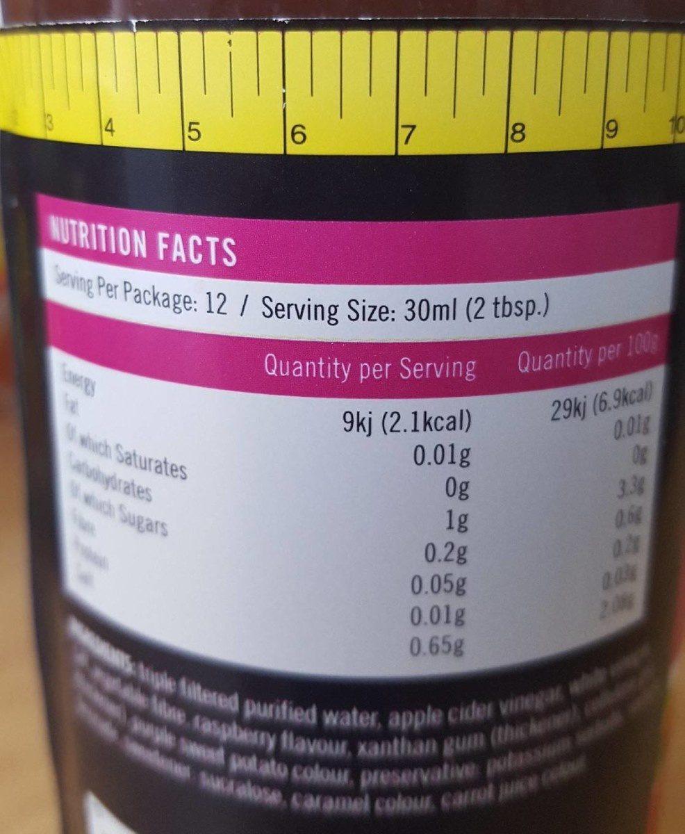 Walden farms, vinaigrette, raspberry - Nutrition facts - en