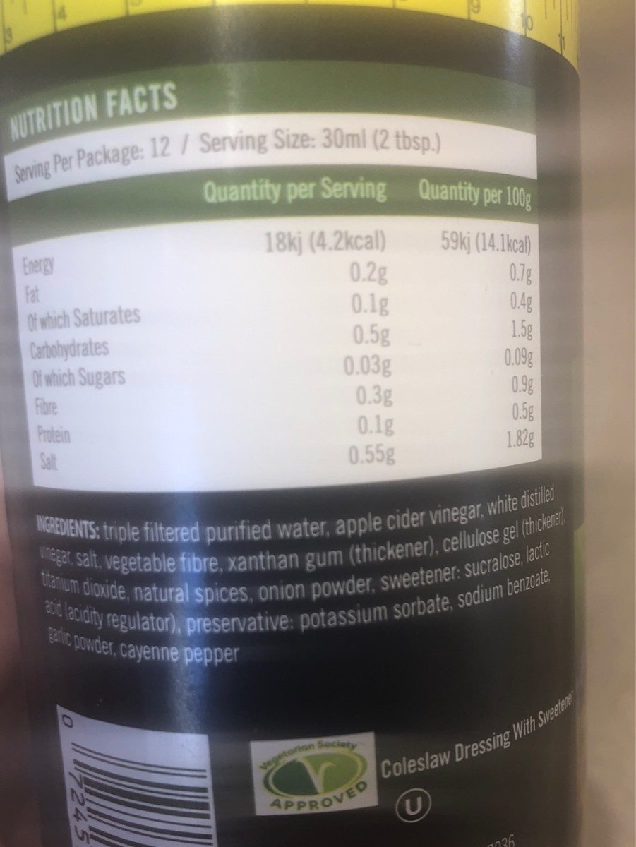 Walden farms, calorie free coleslaw dressing - Ingrédients - fr