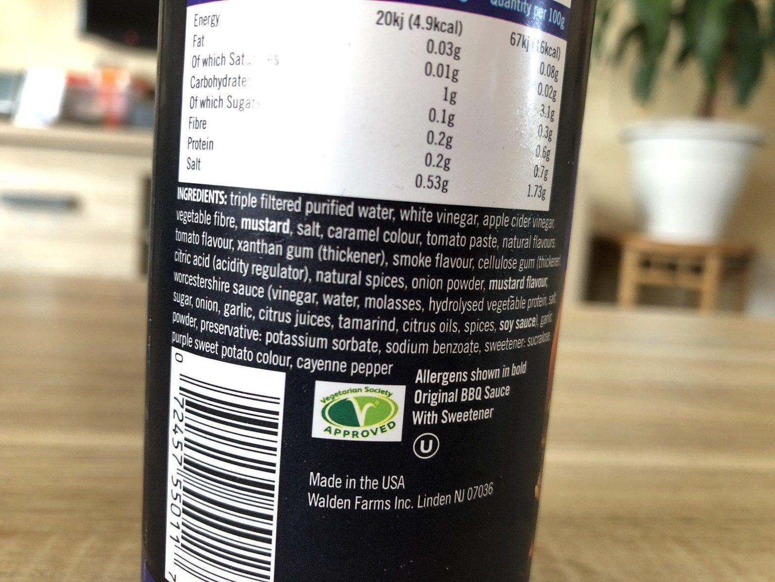 Walden farms, original bbq sauce - Ingredients - en