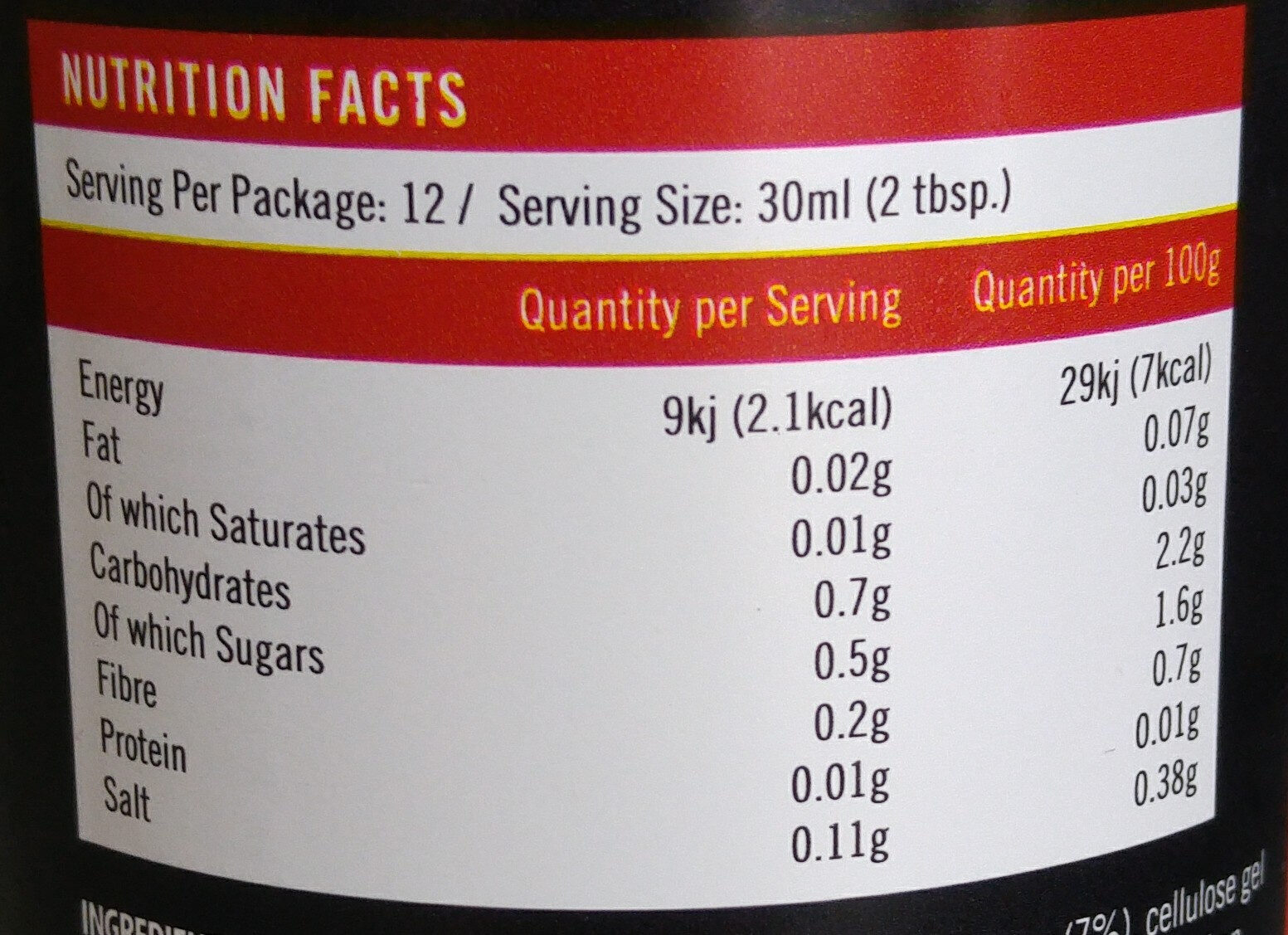 Syrup - Informations nutritionnelles