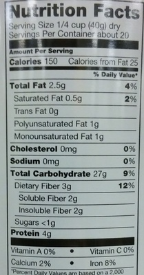 John mccann's, steel cut irish oatmeal - Nutrition facts - en