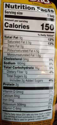 Potato Chips, Honey Bbq - Nutrition facts - en