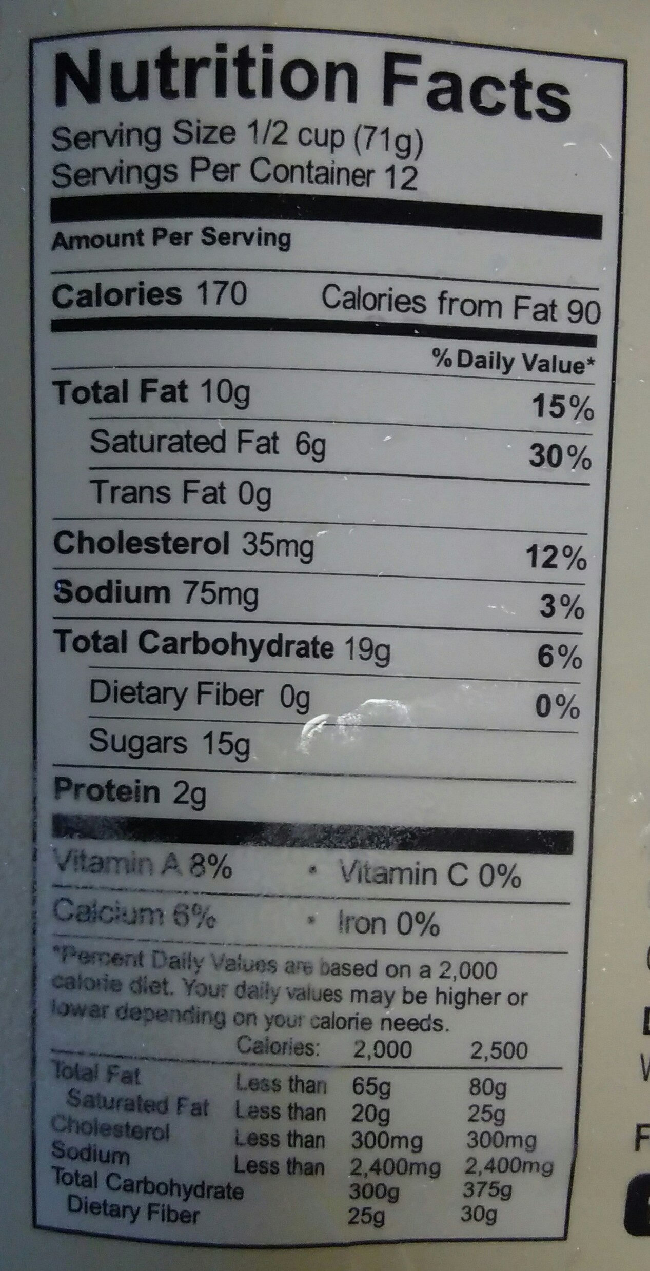Salted caramel ice cream - Nutrition facts - en