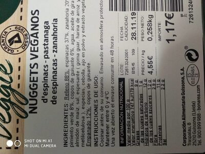 Nuggets Veganos - Informations nutritionnelles