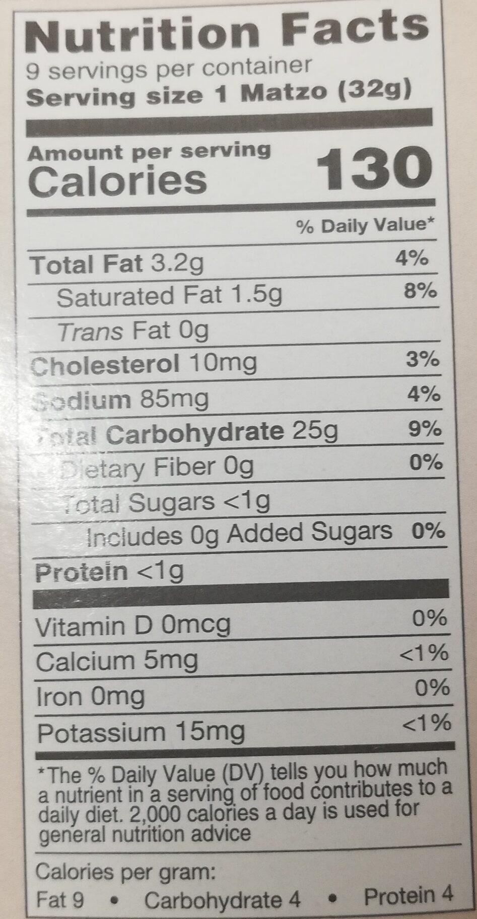 Matzo-style squares - Nutrition facts - en