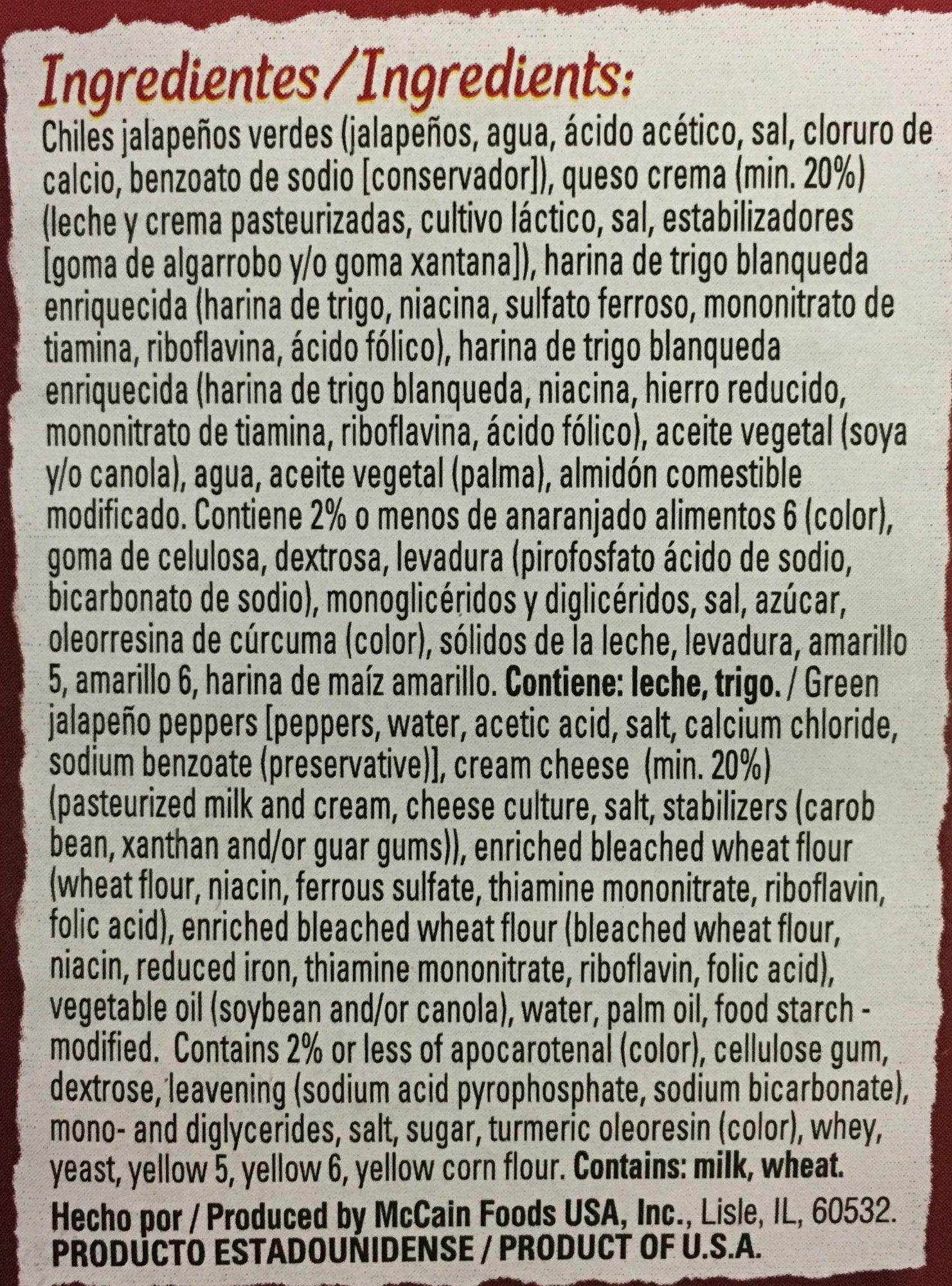 Jalapeños con queso crema, Mc Cain - Ingrediënten - es