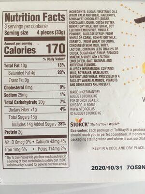 Caramel hazelnut cream chocolate - Informations nutritionnelles - en