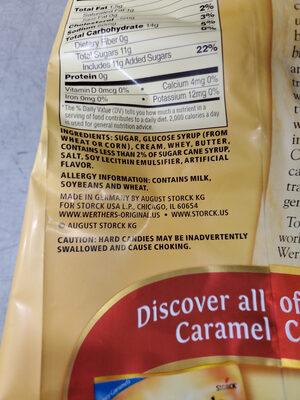 Werther's Original, Caramel Hard Candies, Caramel - Ingrédients