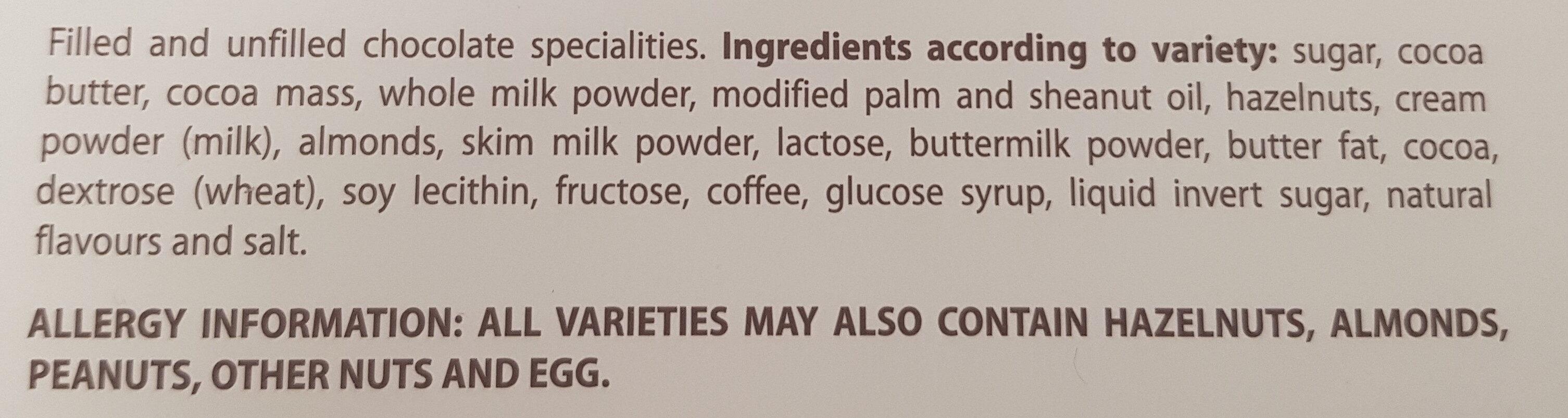 Assorted Chocolates - Ingredients - en