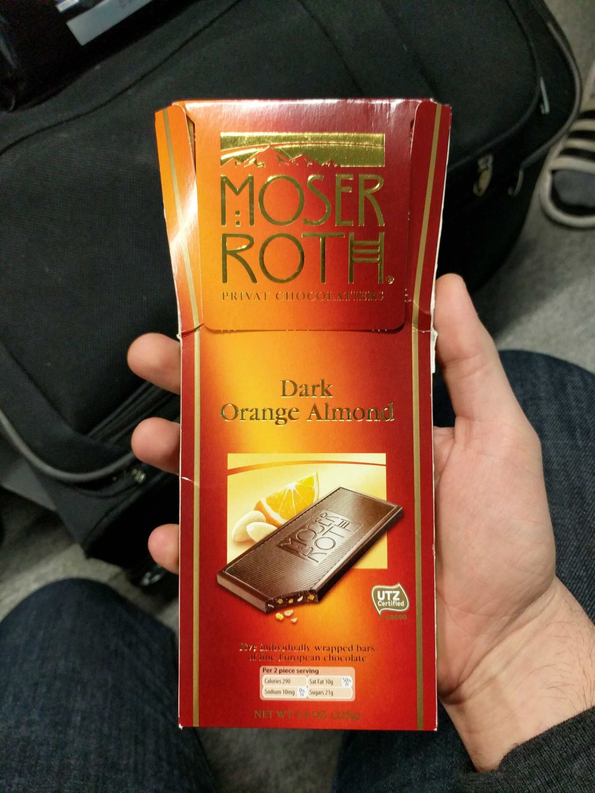 Moser Roth, Privat Chocolatiers, Orange & Almond - Product - en