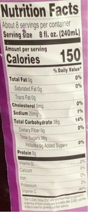 Unsweetened Grape Juice from concentrate - Valori nutrizionali - en