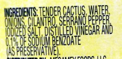 Nopalitos Tender Cactus - Ingredients