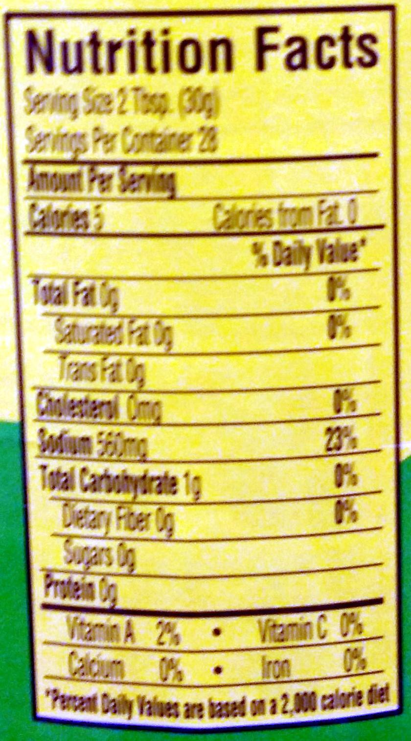 Nopalitos Tender Cactus - Nutrition facts