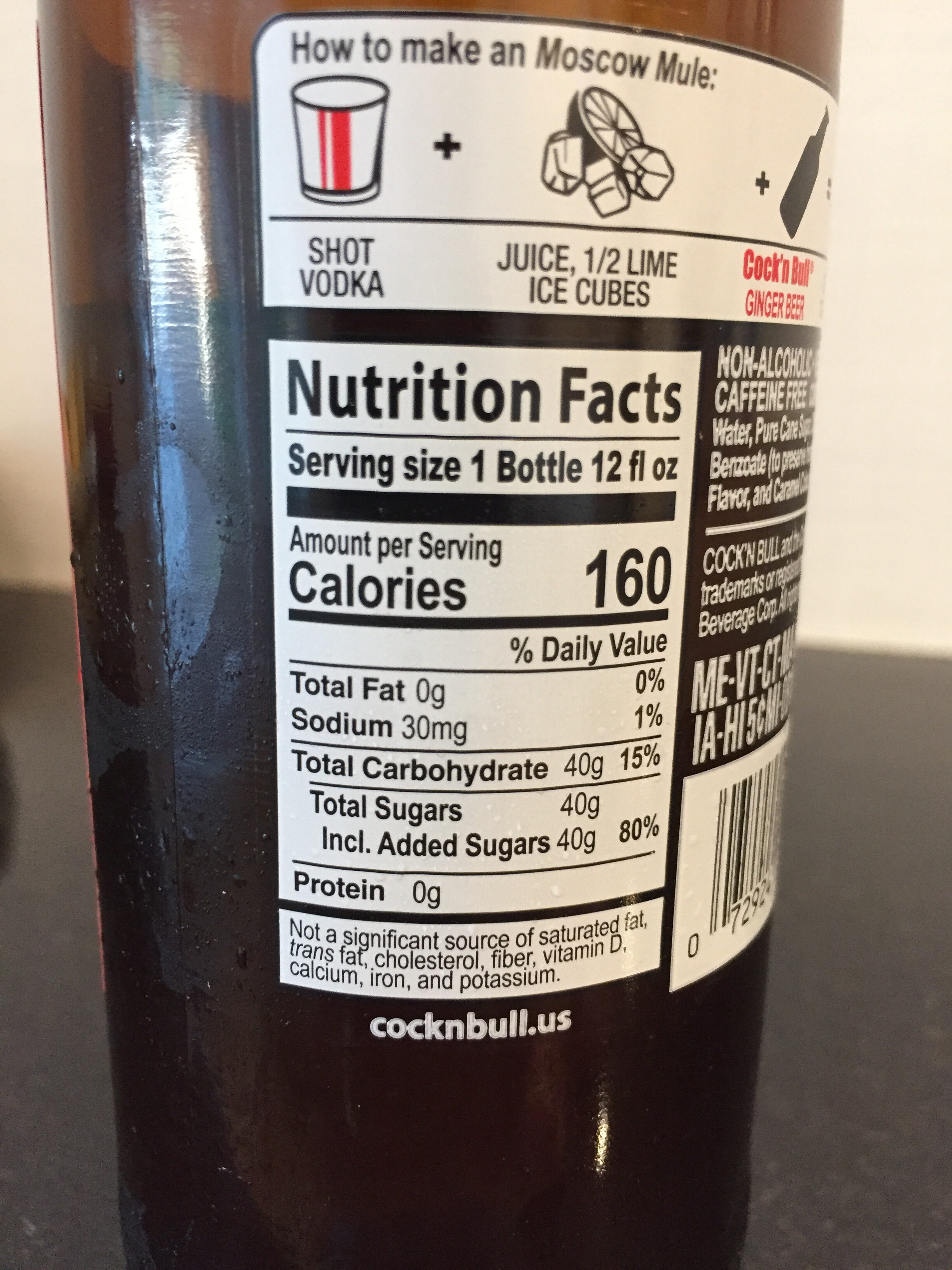 Cock 'n Bull Ginger Beer - Nutrition facts - en