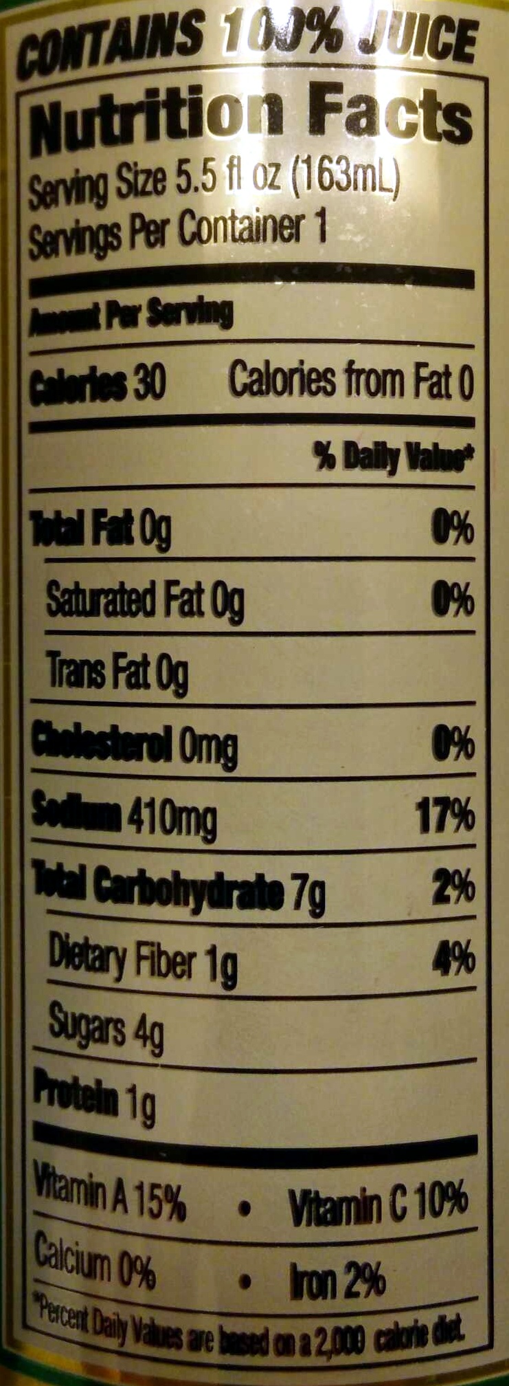 Tomato Juice from Concentrate - Nutrition facts