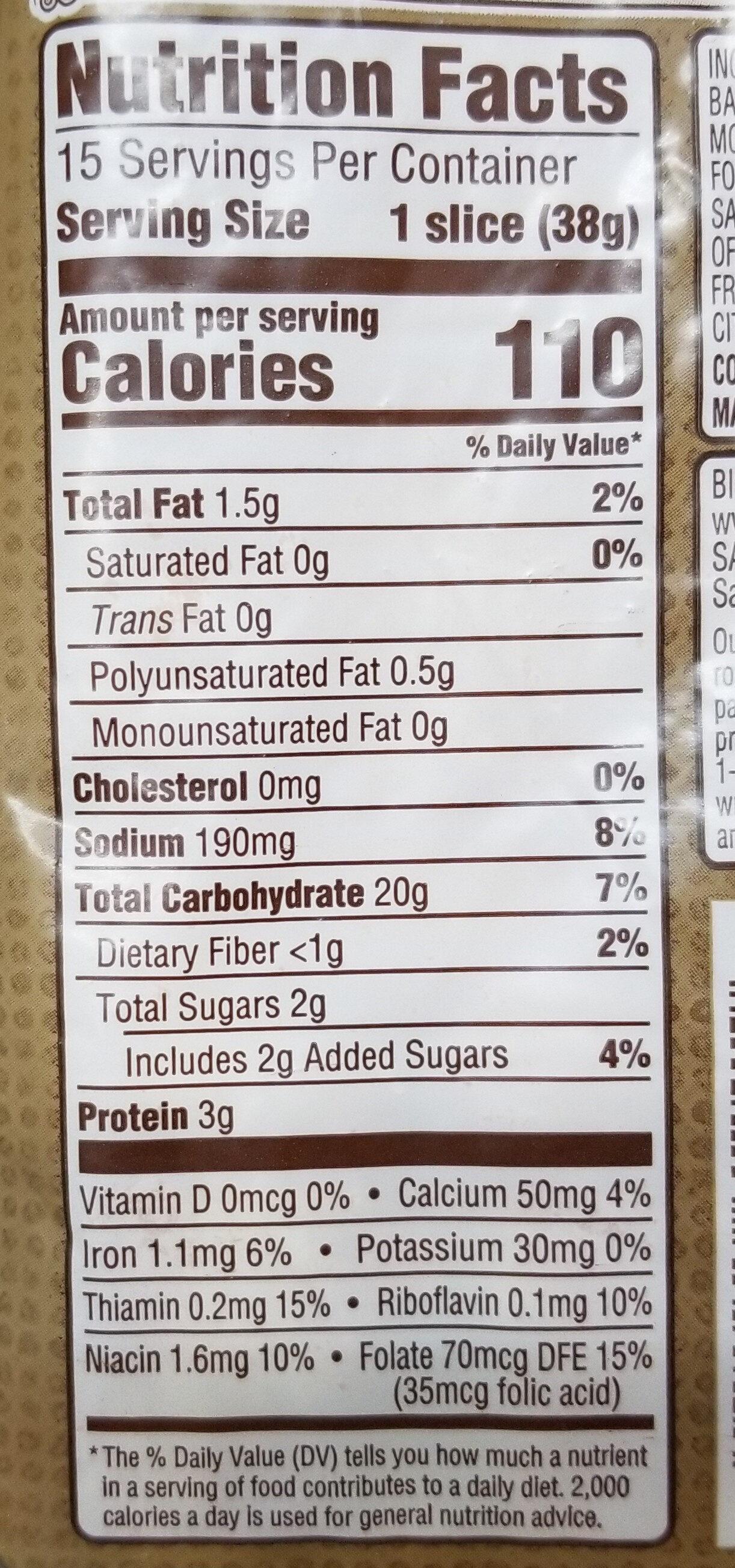 The original bakery bread - Nutrition facts - en