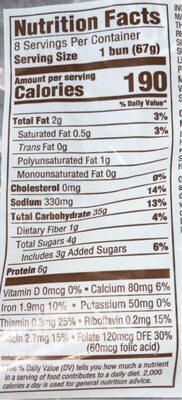 Artesano bakery buns - Nutrition facts - en