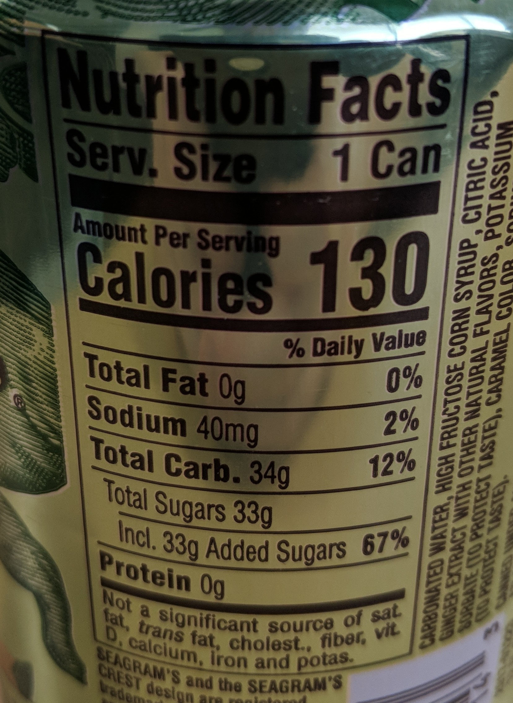 Seagram's Ginger Ale - Nutrition facts