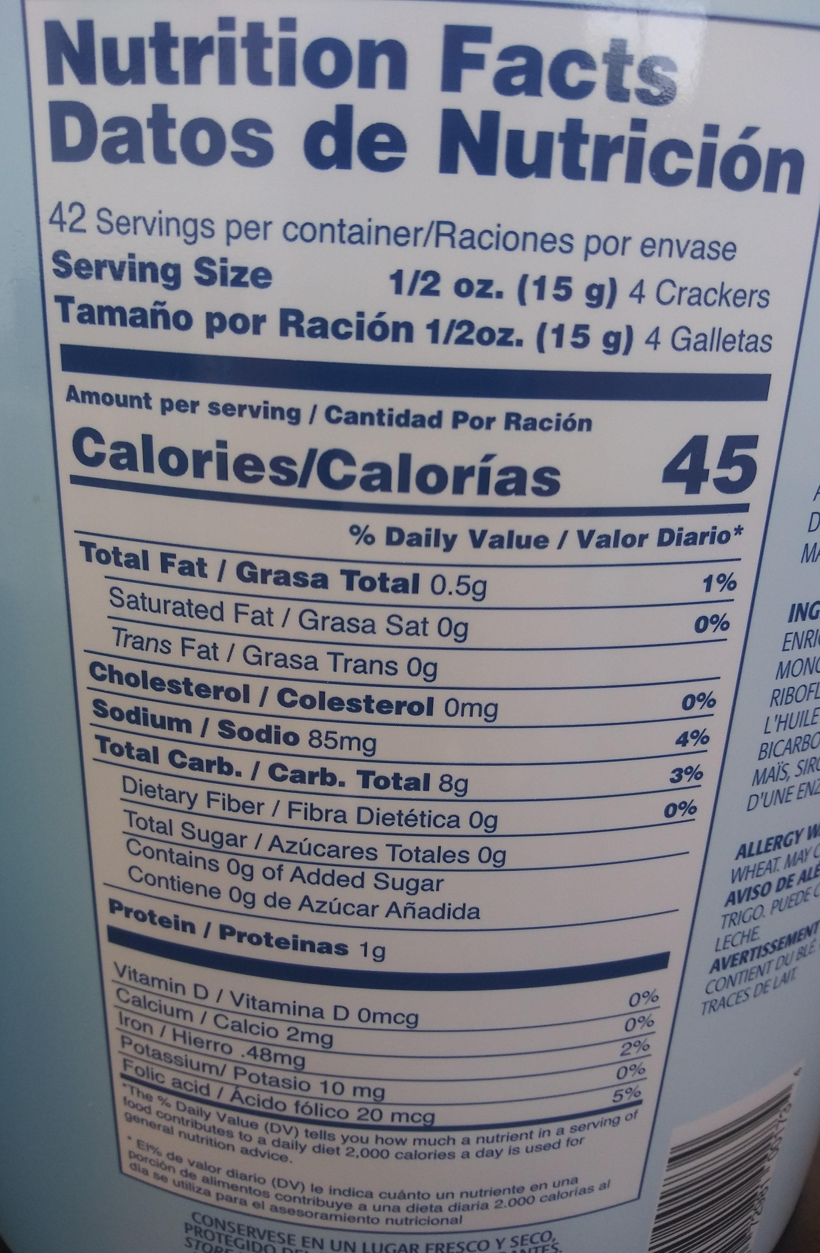 rovira export soda lite soda crackers - Voedingswaarden - en