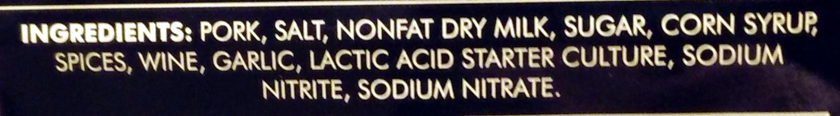 Italian Dry Salame - Ingredients