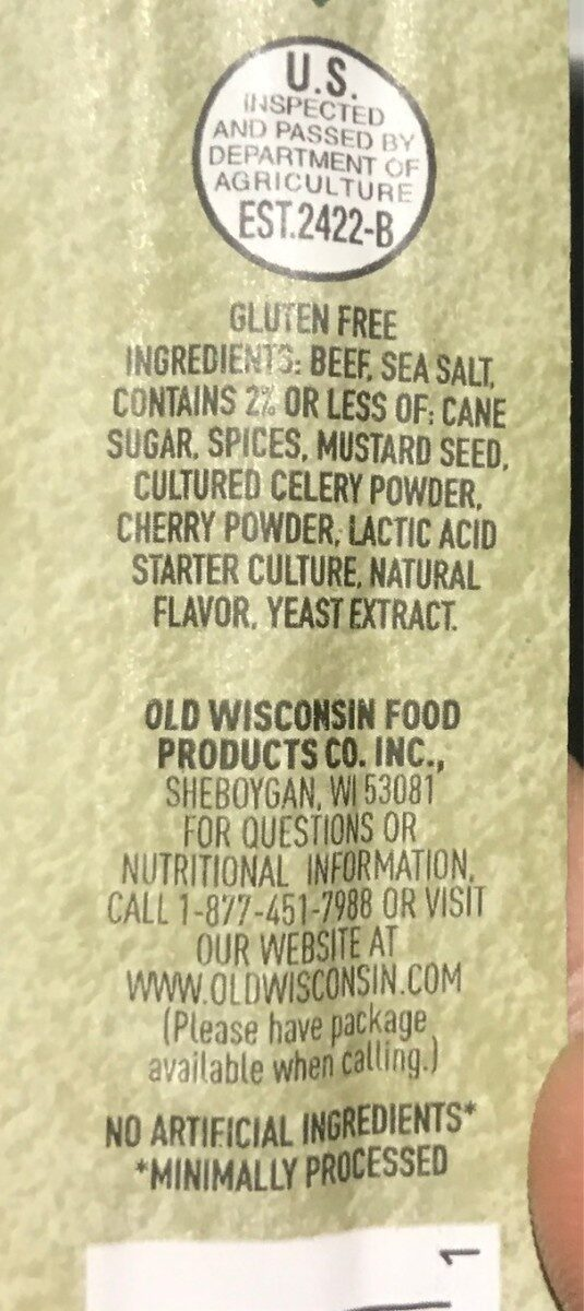 Natural cut - Nutrition facts