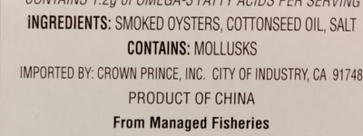 Fancy whole Smoked Oysters in cottonseed oil - Ingredients