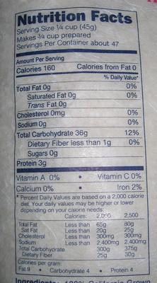 Kokuho Rose - Nutrition facts - en