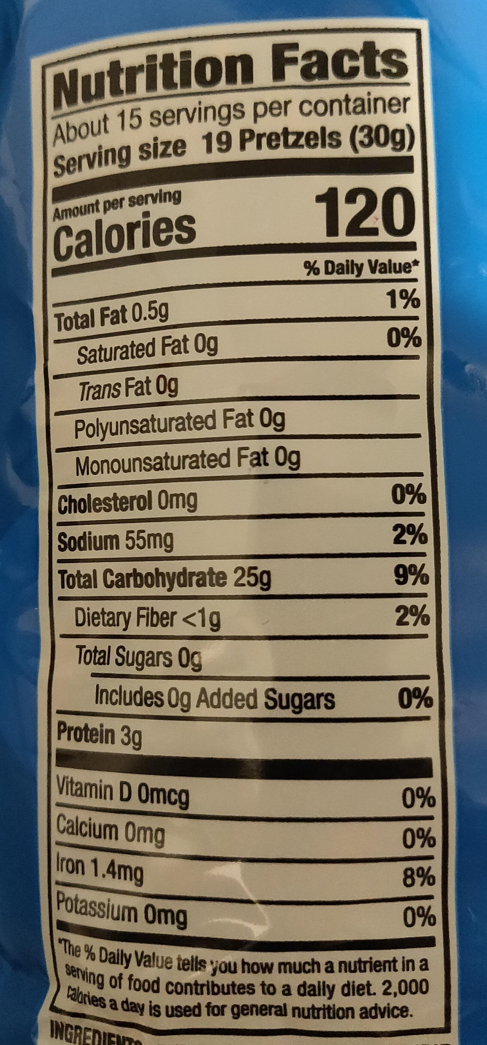 Unsalted Mini Pretzels - Nutrition facts - en