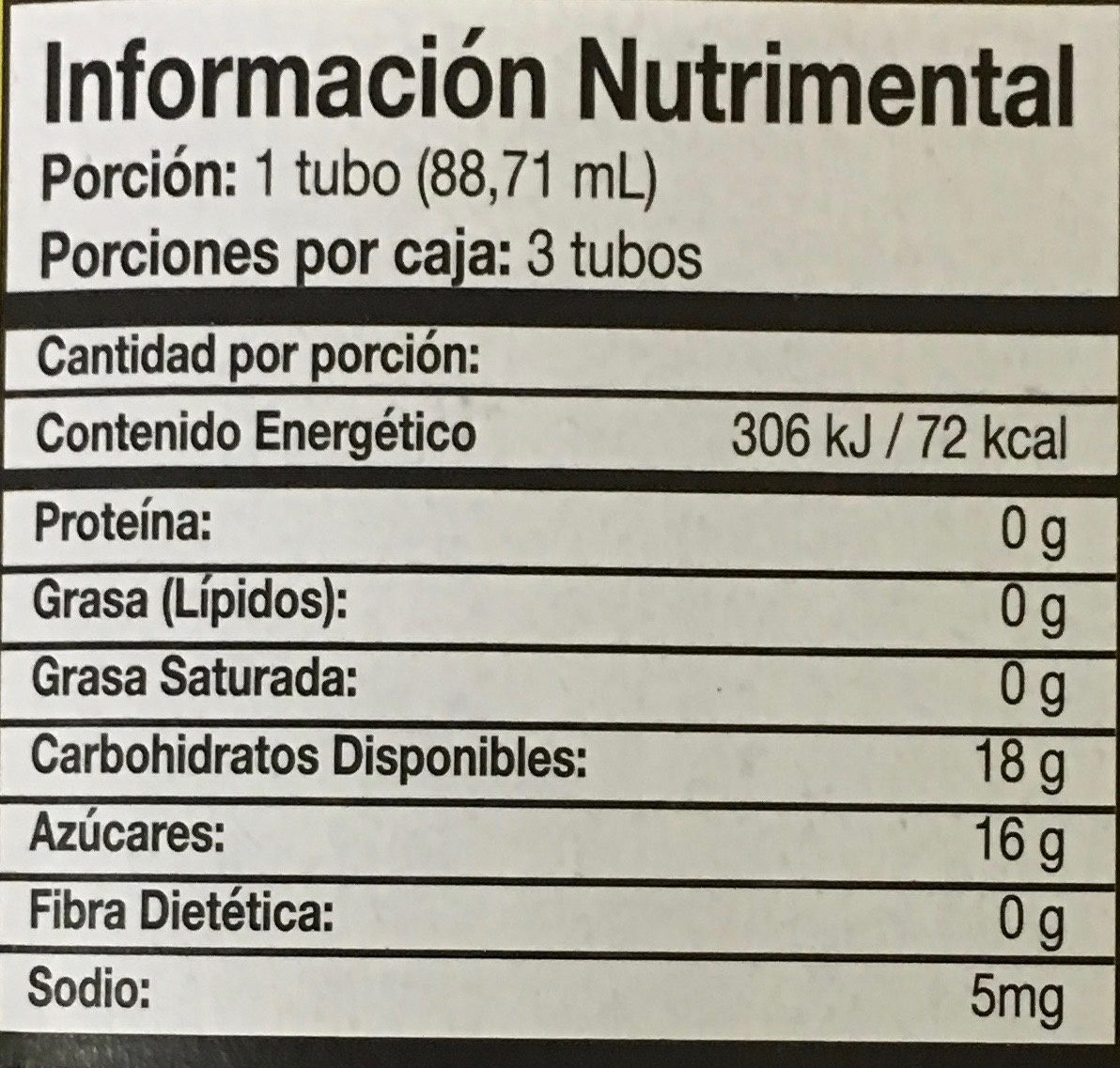 Icee congeladas - Informations nutritionnelles - es
