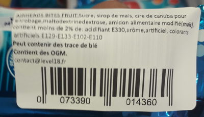 Air Heads Fruit Bites Candy, Watermelon, Blue Raspberry, Cherry, Orange, White Mystery - Ingredients