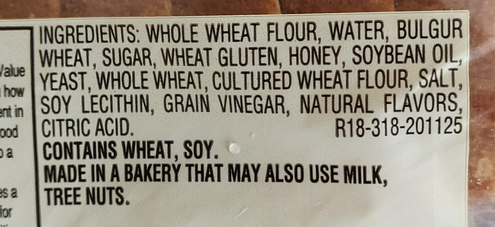100% whole wheat bread, whole wheat - Ingredients - en