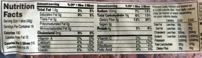 100% Whole Wheat Grains Bread - Nutrition facts