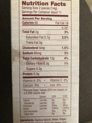 Flatbread Crispy And Delicious - Nutrition facts