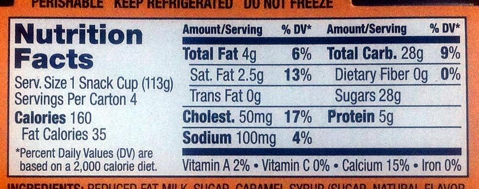 Creme caramel flan, creme caramel - Nutrition facts - en