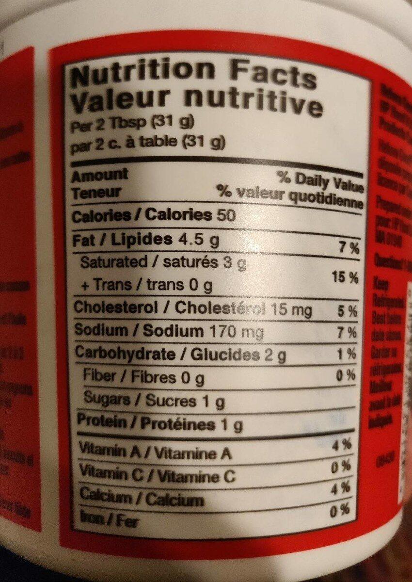 Sour Cream Dip - Informations nutritionnelles - fr