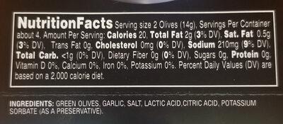 Gnarly Garlic Stuffed Olives - Ingredients