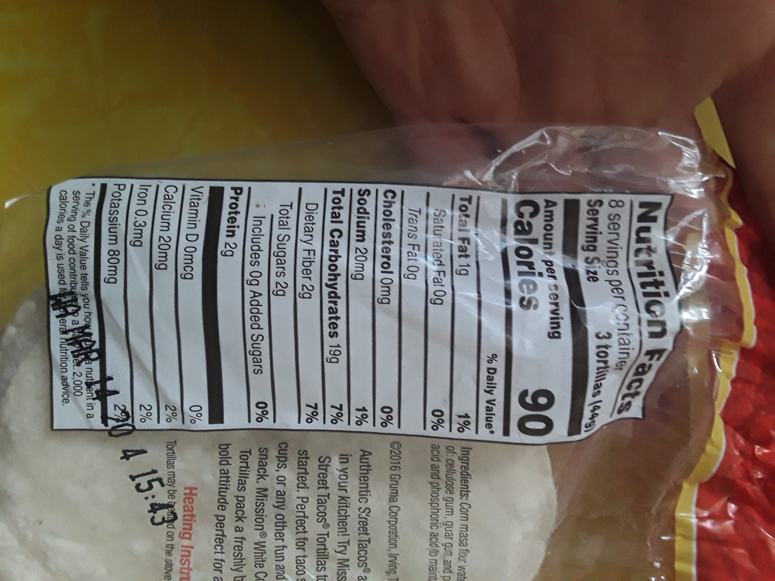 Street tacos corn tortillas - Nutrition facts - en