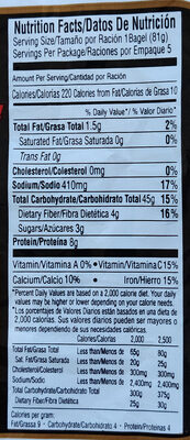 Wheat Bagels - Nutrition facts - en