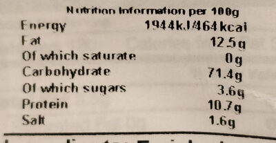 Pita chips sea salt - Nutrition facts