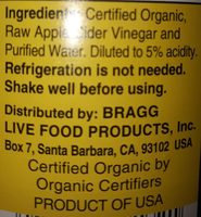 Raw unfiltered apple cider vinegar - Ingredients - en
