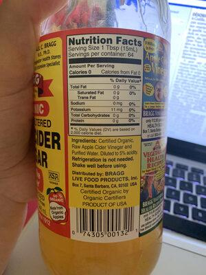 Raw unfiltered apple cider vinegar - Nutrition facts - en