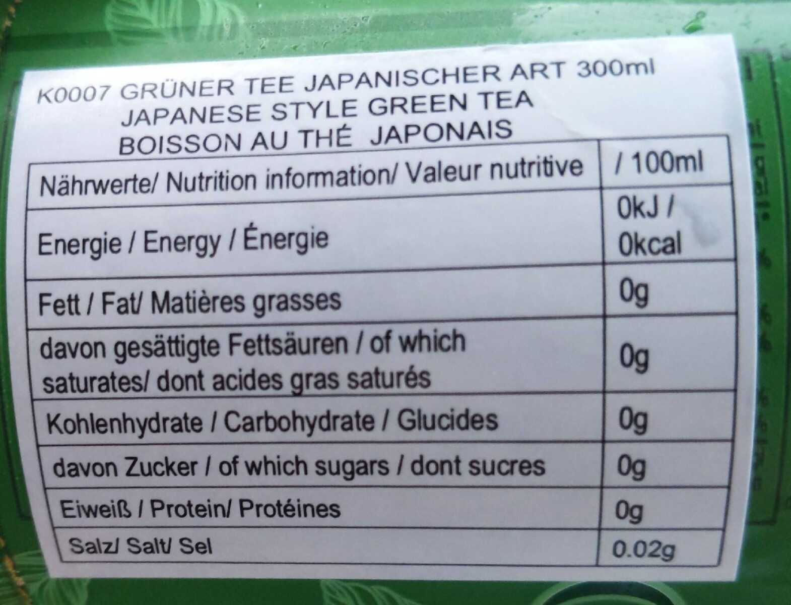 Japanese green tea - Nutrition facts - fr