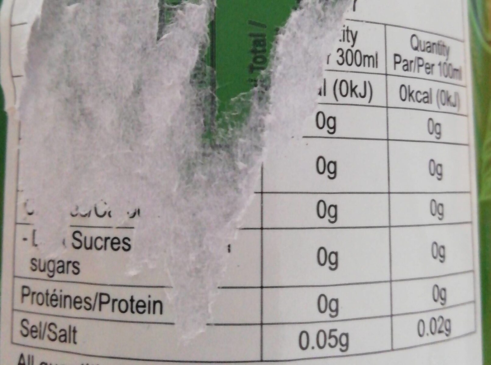 Japanese Green Tea - Informations nutritionnelles - fr