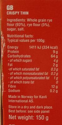 - Voedingswaarden - th