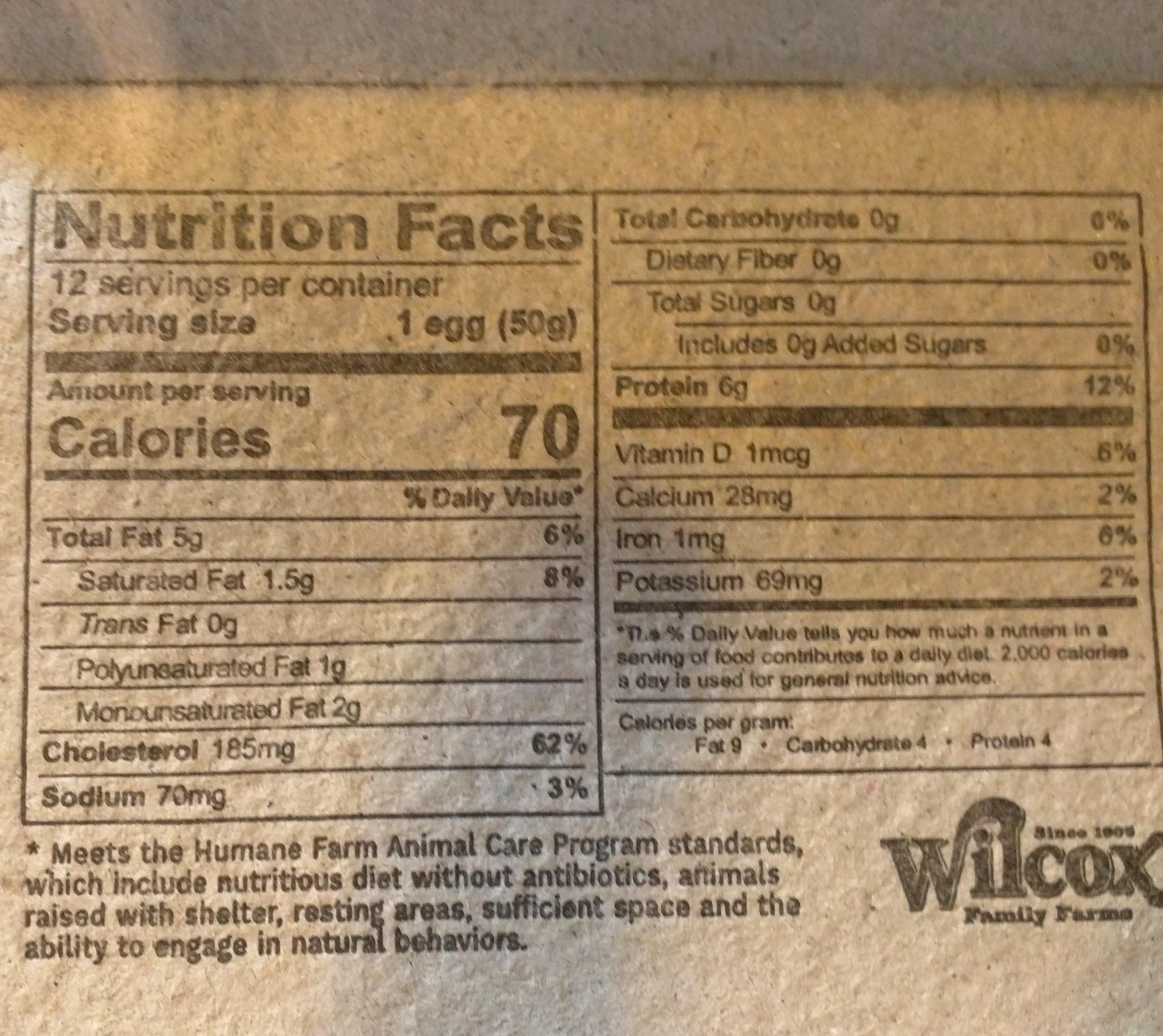 Free Range White Eggs - Voedingswaarden