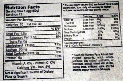 12 large grade cage free AA eggs - Nutrition facts